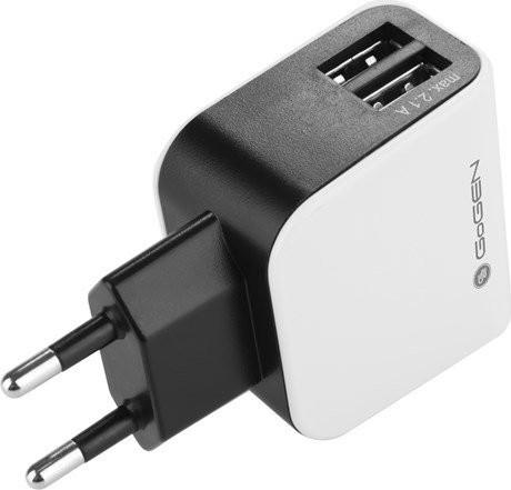 Nabíječka do sítě GoGEN ACH 200, 2x USB, černo-bílá barva