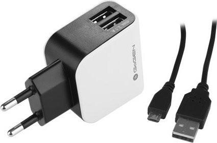 Nabíječka do sítě GoGEN ACH 201 C, 2x USB + microUSB kabel 1,2m, černo-bílá barva