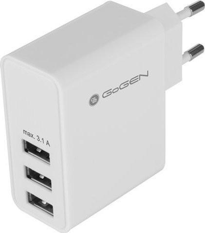 Nabíječka do sítě GoGEN ACH 300, 3x USB, bílá barva