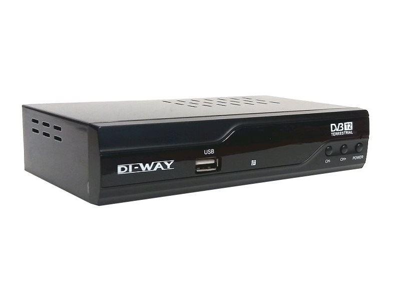 SET TOP BOX DI-WAY T2-ONE FullHD s HEVC H.265 DVB-T2 ověřeno, USB přijímač + ZDARMA kabel HDMI