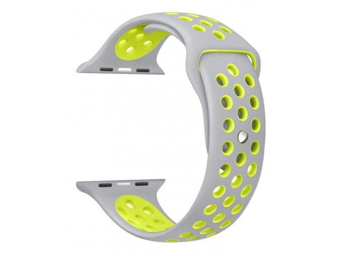 Vyměnitelný řemínek 42 mm - IWO, iWatch   sportovní šedý  šedá/zelená