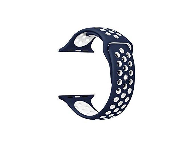 Vyměnitelný řemínek 42 mm - IWO, iWatch | sportovní  modrá/bílá