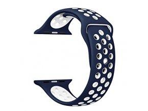 Vyměnitelný řemínek 42 mm - IWO, iWatch | sportovní modrý  modrá/bílá