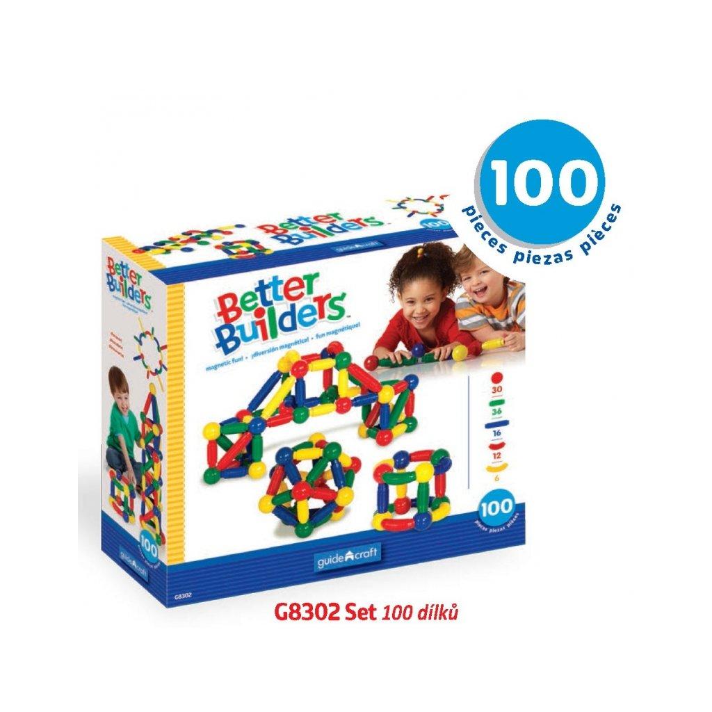 Magnetická stavebnice Better Builders - Set 100 ks