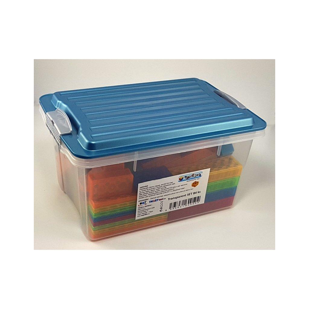Magnetická stavebnice Magnetiko 84ks transparentDe Luxe box