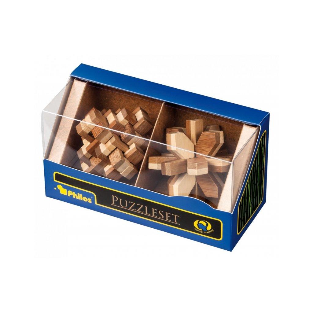 Set 2 dřevených hlavolamů Bamboo PHILOS