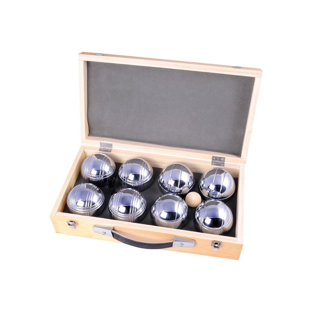 Petanque 8 koulí v dřevěném boxu