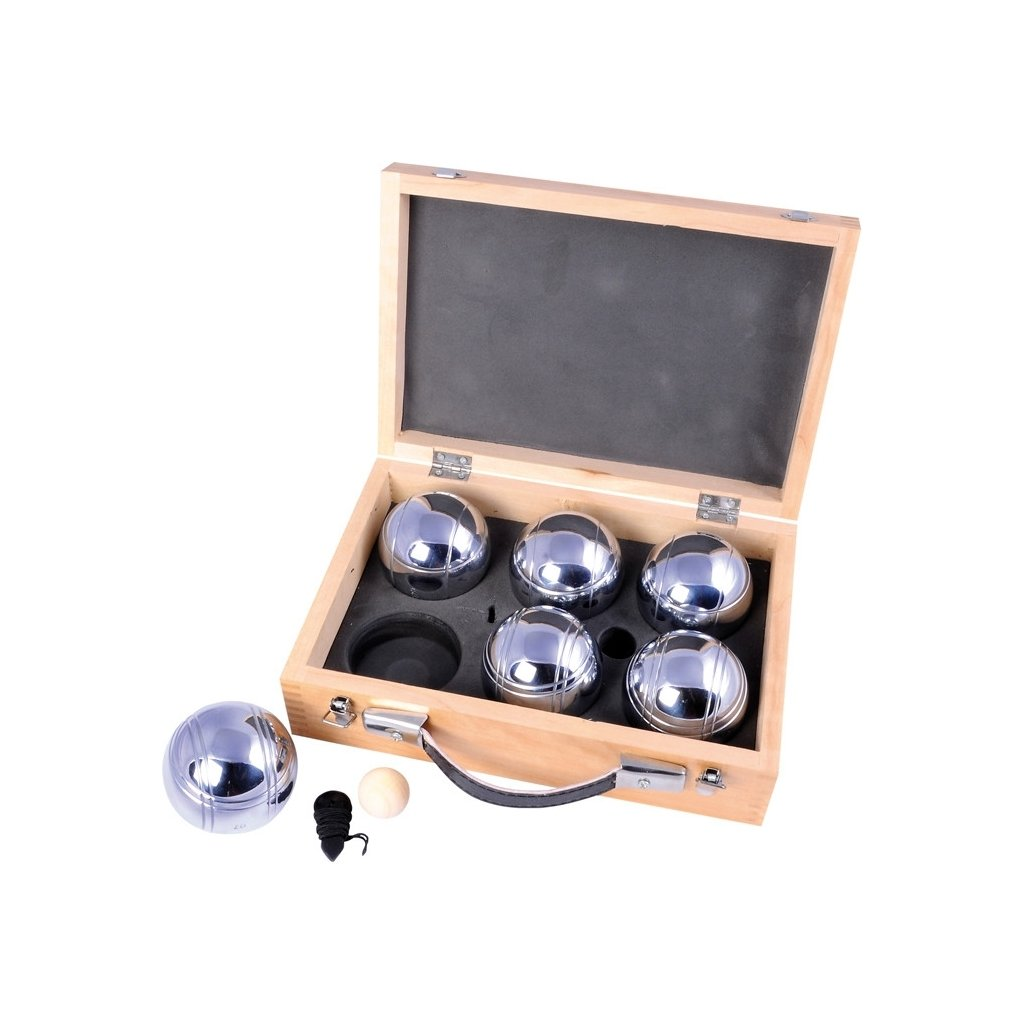 Petanque 6 koulí v dřevěném boxu