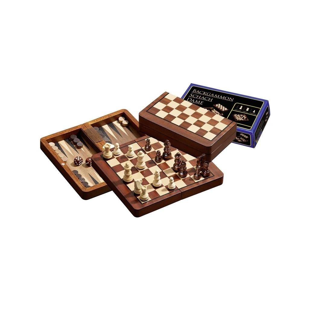 Šachy+dáma+Backgammon set magnetic malý