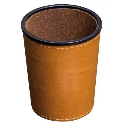 Přírodní kožený pohárek na kostky