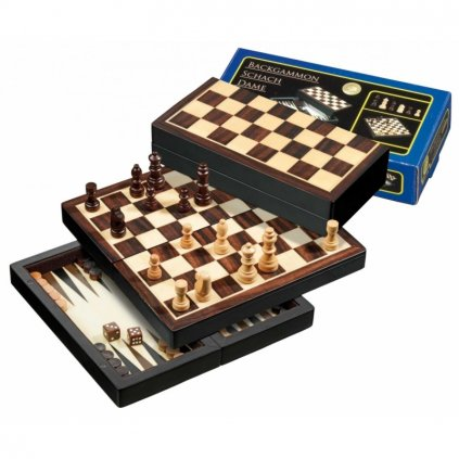 Šachy+dáma+Backgammon set Magnetic PHILOS