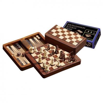 Šachy+dáma+Backgammon set magnetic malý