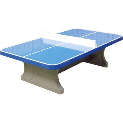 Stolní tenisový stůl betonový modrý se zaoblenými rohy