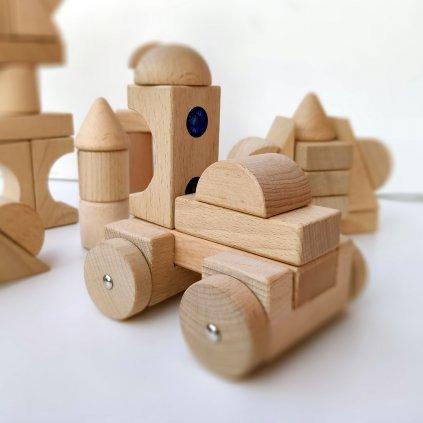 Dřevěná magnetická stavebnice MagWood