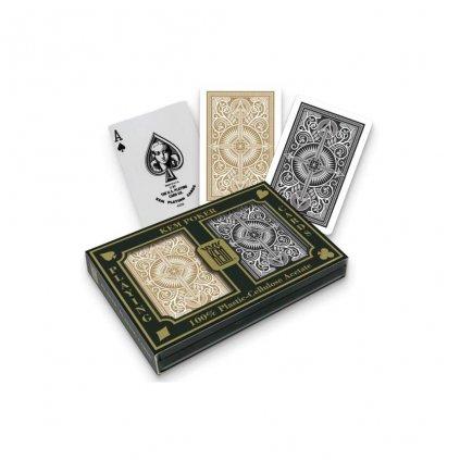 Karty hrací KEM 2 pack 100 % plast Black/Gold