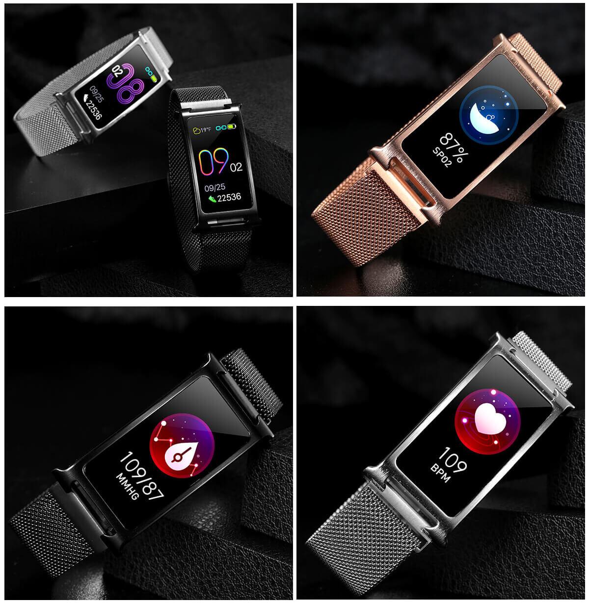 Chytrý kovový fitness náramek Smartomat Silentband 2 chytré hodinky 10