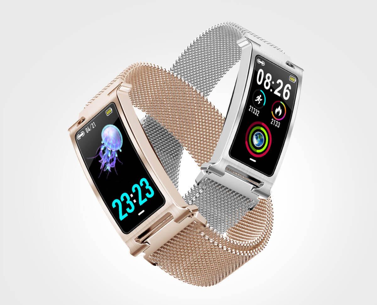 Chytrý kovový fitness náramek Smartomat Silentband 2 chytré hodinky 2