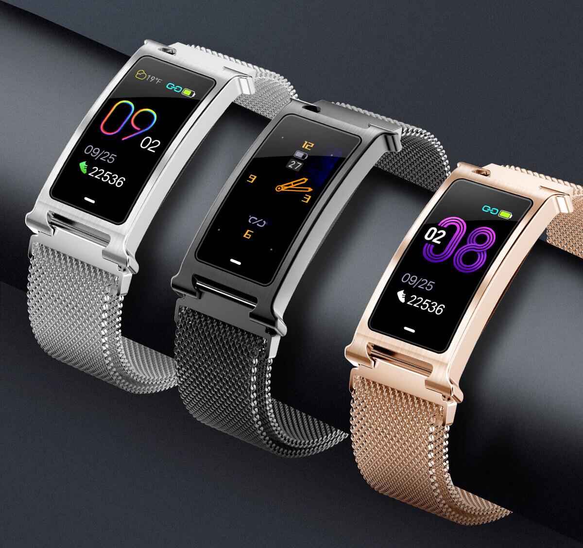 Chytrý kovový fitness náramek Smartomat Silentband 2 chytré hodinky 3