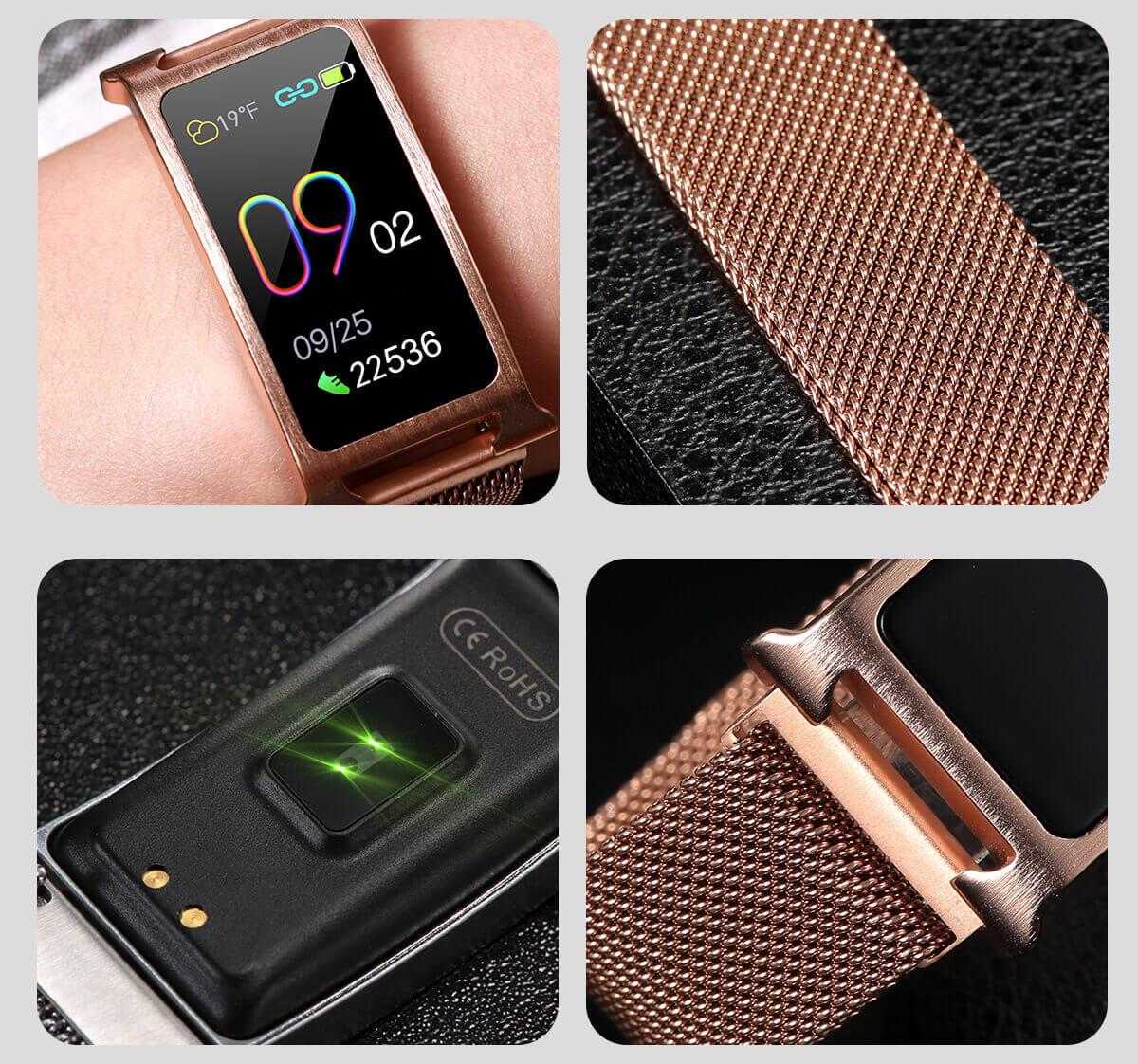 Chytrý kovový fitness náramek Smartomat Silentband 2 chytré hodinky 5