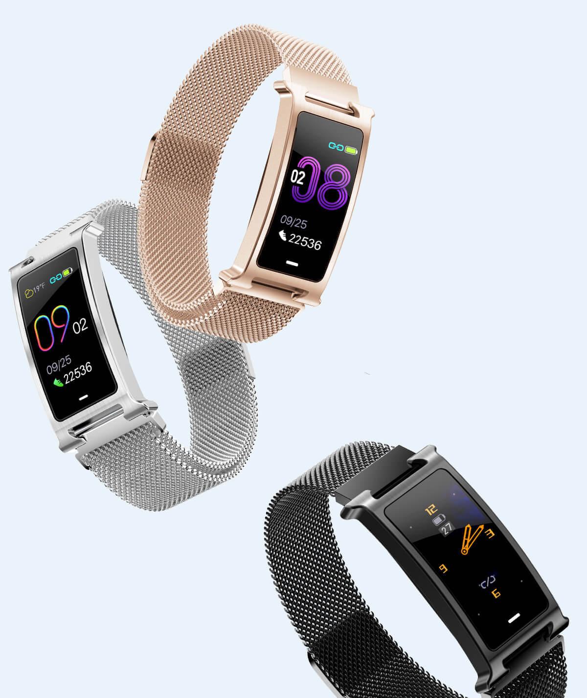 Chytrý kovový fitness náramek Smartomat Silentband 2 chytré hodinky 7