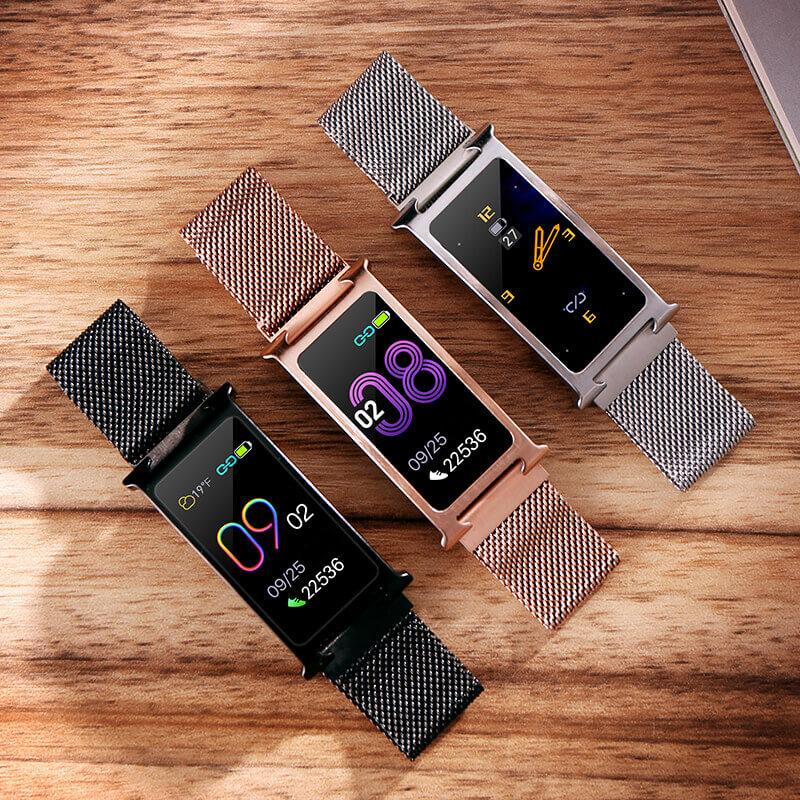 Chytrý kovový fitness náramek Smartomat Silentband 2 chytré hodinky 8