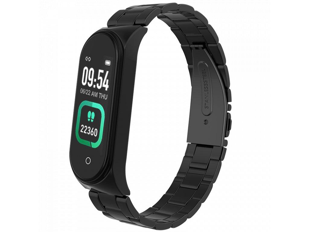 Černý kovový chytrý fitness náramek (kovové chytré hodinky) Smartomat Sunset 4 Pro