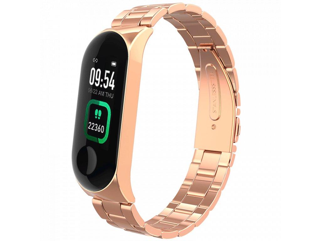 Zlatý kovový chytrý fitness náramek (kovové chytré hodinky) Smartomat Sunset 4 Pro