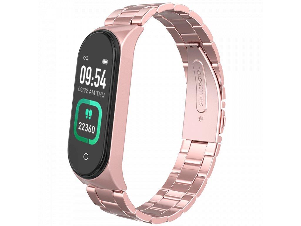 Růžový rose gold kovový chytrý fitness náramek (kovové chytré hodinky) Smartomat Sunset 4 Pro