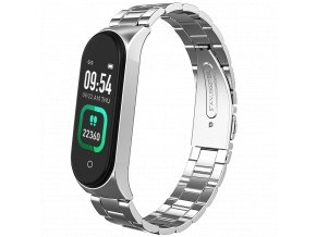 Stříbrný kovový chytrý fitness náramek (kovové chytré hodinky) Smartomat Sunset 4 Pro