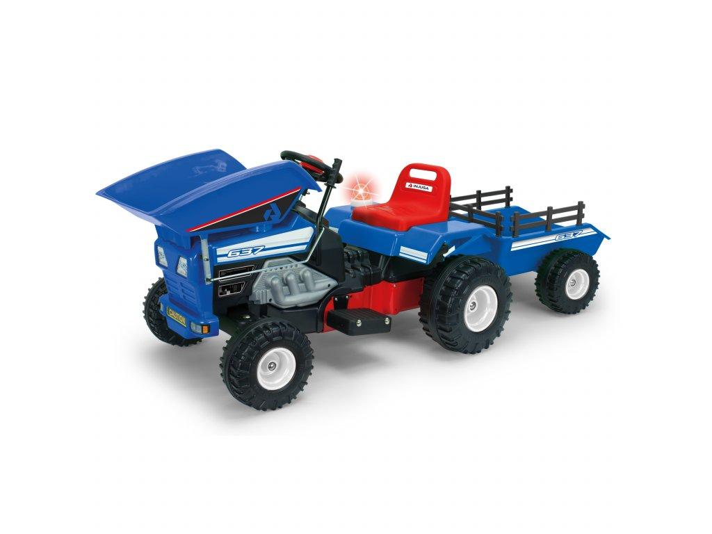 Injusa elektrický traktor se sklápěčem a přívěsem Blue 12V