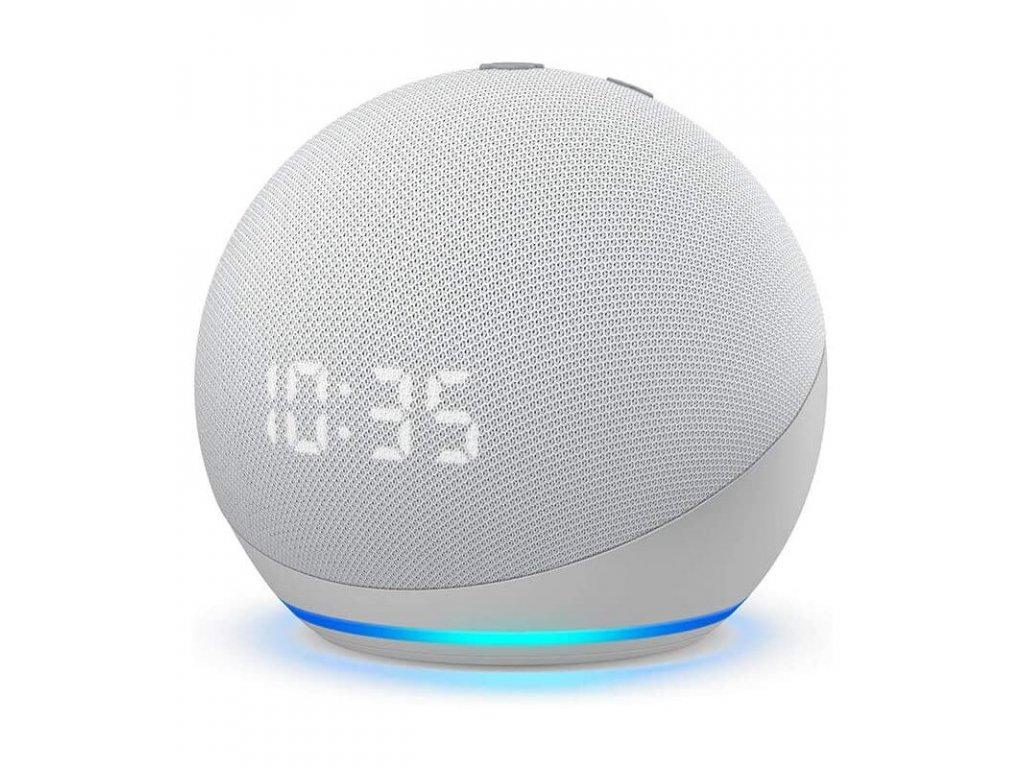 Amazon Echo Dot 4. generace s hodinami Glacier White