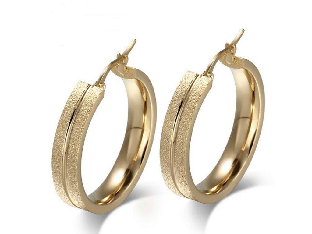 492087 kruhove nausnice z piskovane chirurgicke oceli zlate se000076