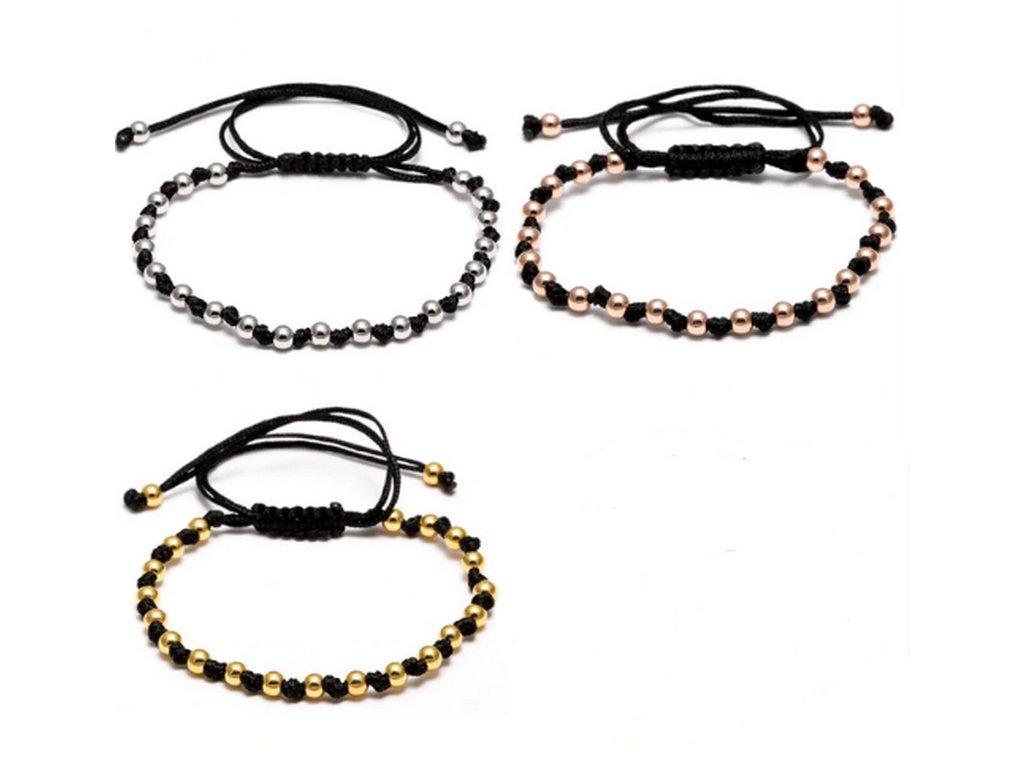 Provázkový decentní náramek s korálky- 3 barvy SSB00077 (Barva Žlutá)