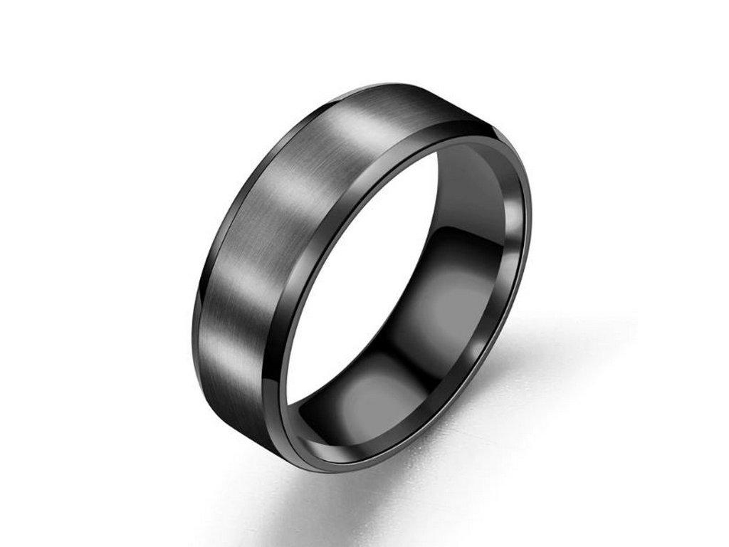 Prsten z broušeného titanu ve černém provedení SR156 (Velikost 9)