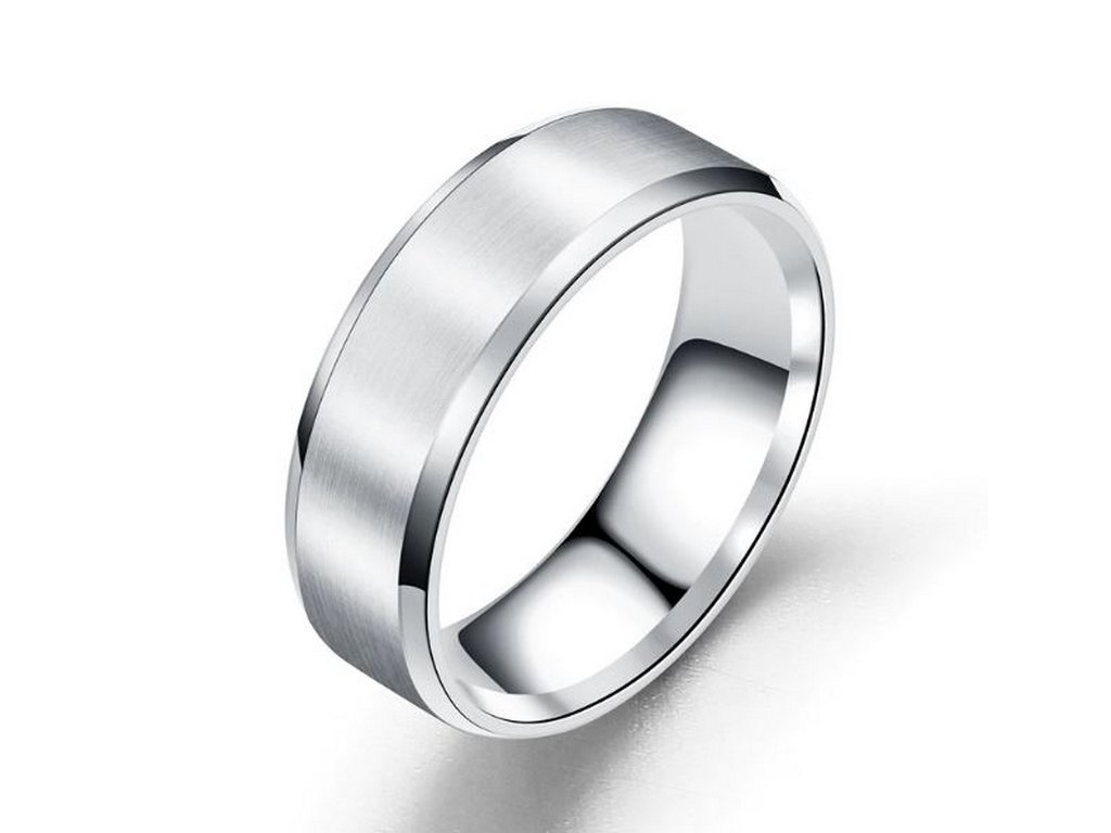 Prsten z broušeného titanu ve stříbrném provedení SR154 (Velikost 9)