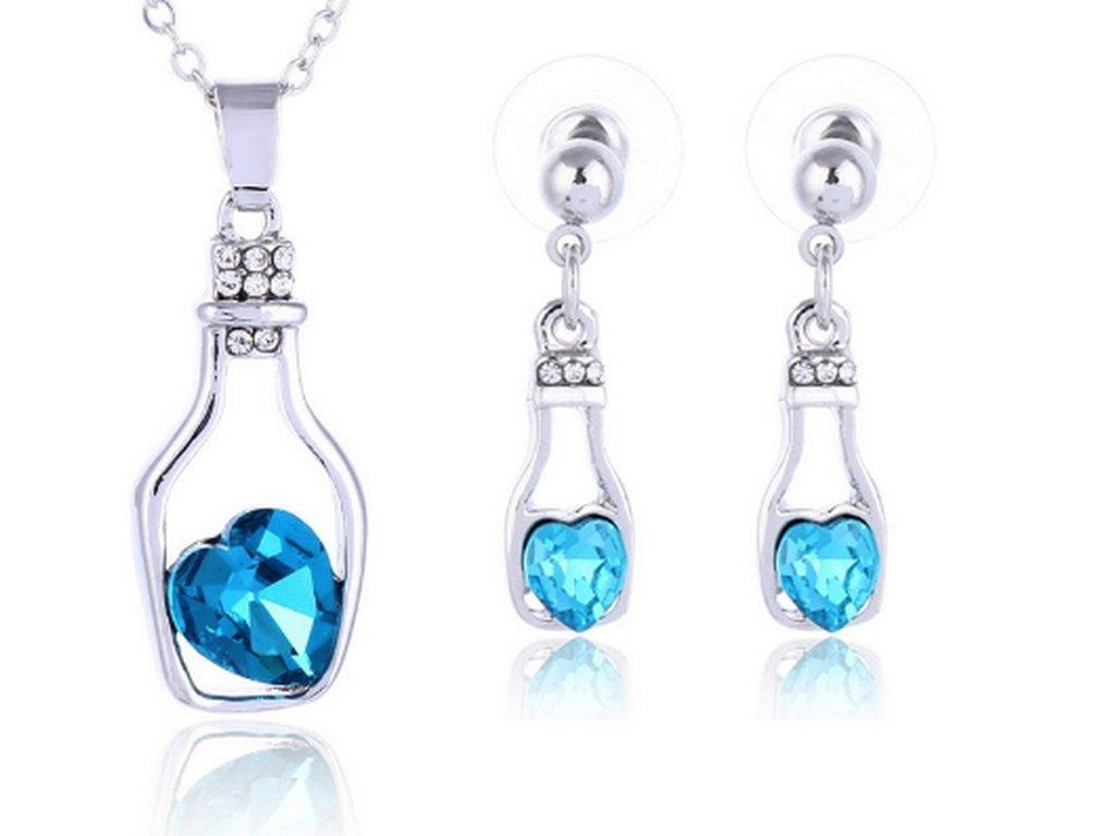 Set náušnic a řetízku s přívěskem srdce v láhvi- silver CS000018 (Barva Zelená)