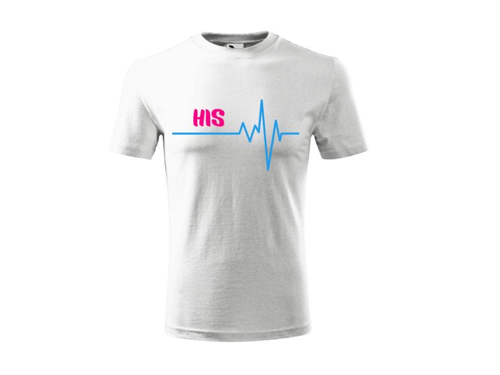 Tričko pro páry- His- Her bílé