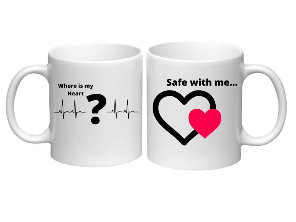 Sada hrnečků pro páry Where is my heart- Safe with me