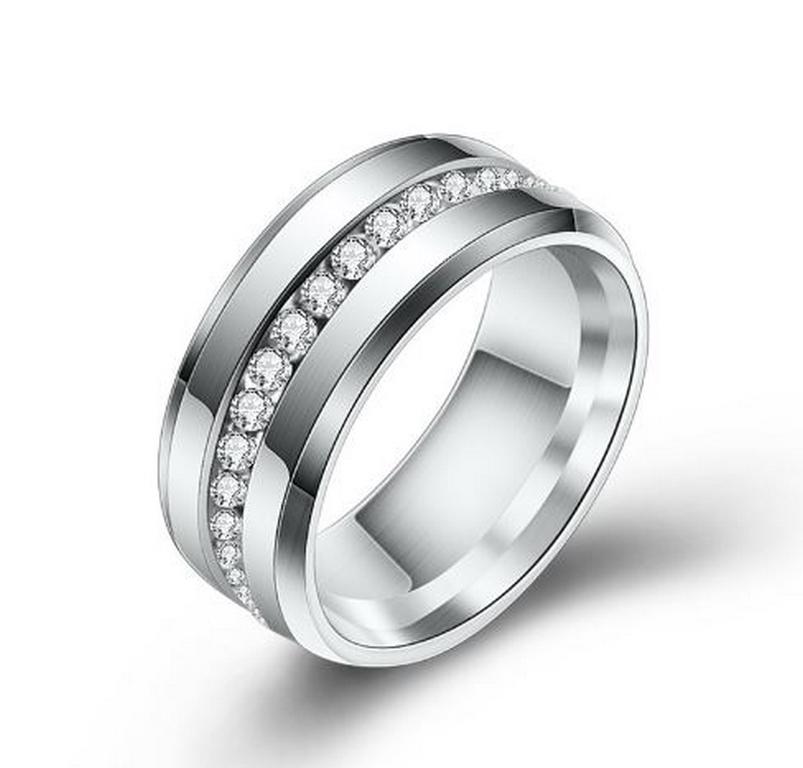 Levně Smartuj Prsten z chirurgické oceli osázen malými zirkony- stříbrný SR000122 Velikost: 6