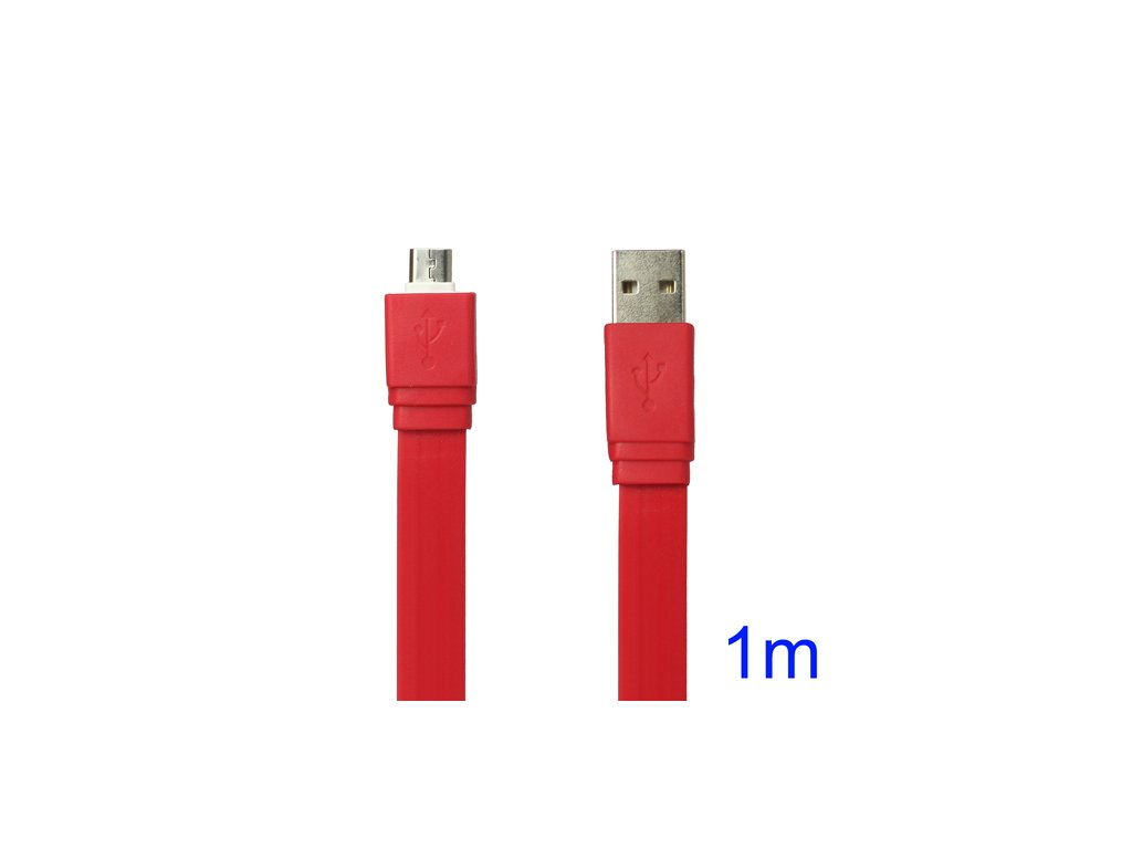Plochý microUSB kabel - délka 1 metr