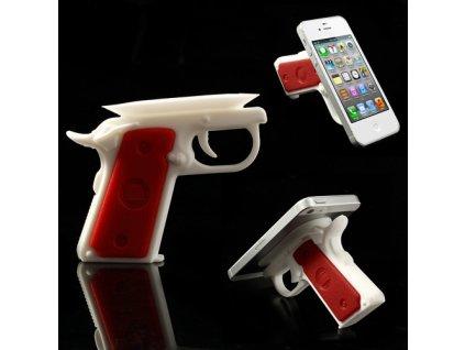 Stojánek ve tvaru pistole pro mobilní telefon