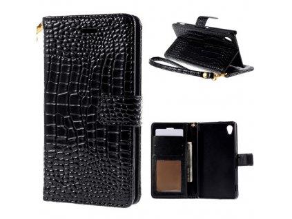 Pouzdro se vzorem krokodýlí kůže pro Sony Xperia M4 Aqua