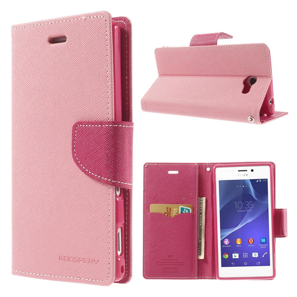 Pouzdro se stojánkem pro Sony Xperia M2 Barva: Růžová (světlá)