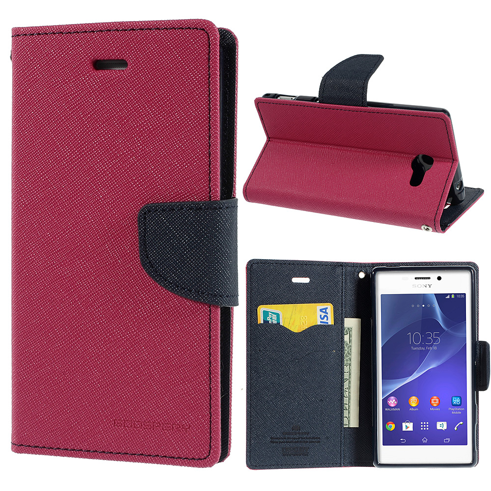 Pouzdro se stojánkem pro Sony Xperia M2 Barva: Růžová (tmavá)