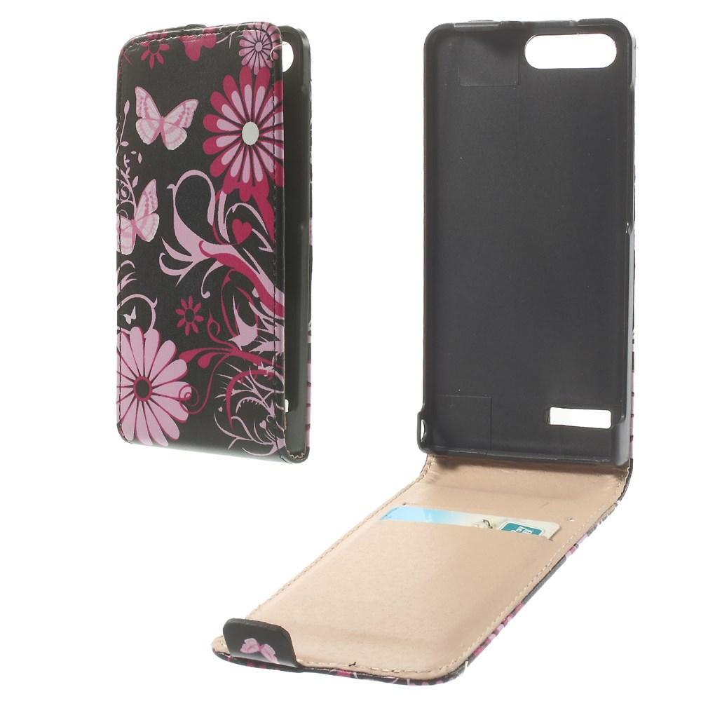 Pouzdro s květinou a motýly pro Huawei Ascend G6 4G
