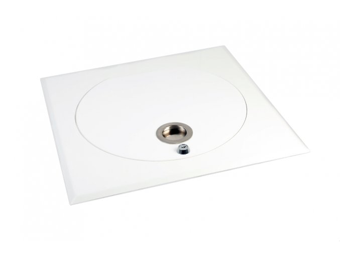 Vhozová dvířka kovová čtvercová se zámkem, bílá