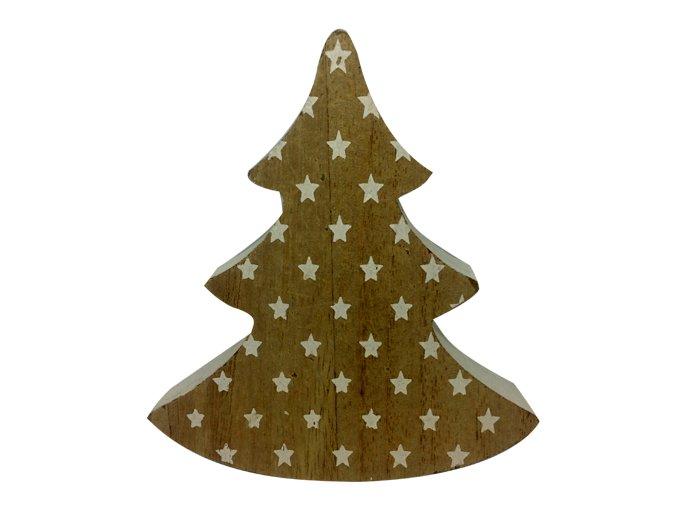 Dřevěný stromek s bílými hvězdičkami