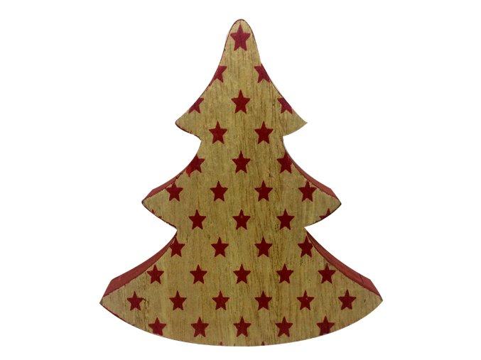 Dřevěný stromek s červenými hvězdičkami