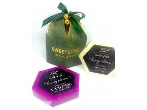 Vánoční dárková krabička s 4 ks vonných vosků dle výběru - zelená