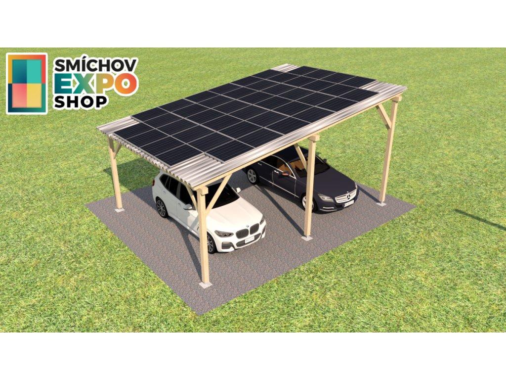 Dřevěný přístřešek s FVE 9,90 kWp s baterií 12,0 kWh